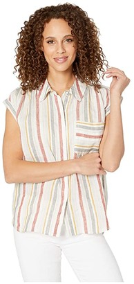 Vince Camuto Canyon Stripe Two-Pocket Linen Blouse (Canyon Sunset) Women's Clothing