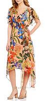 Gibson & Latimer Floral Wrap Cold Shoulder Dress