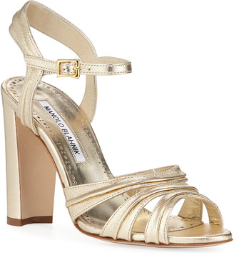 Manolo Blahnik Gazo Metallic Leather 105mm Sandals