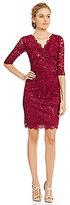 Sangria Scalloped Sequin Lace Faux Wrap Sheath Dress