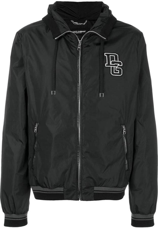 Dolce & Gabbana hooded bomber jacket with logo patch