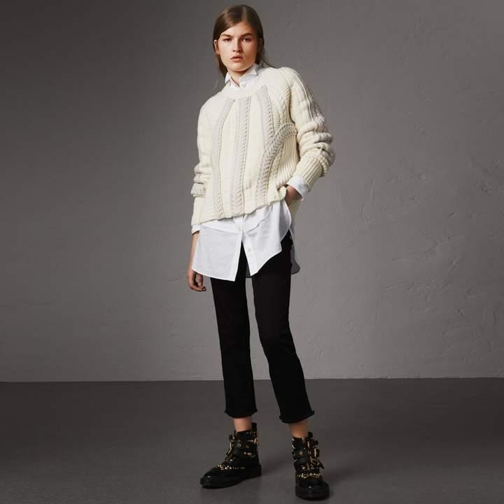 Burberry Frayed Hem Cropped Jeans , Size: 30, Black