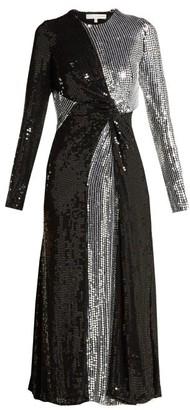 Galvan Pinwheel Sequinned Silk Dress - Womens - Black Silver
