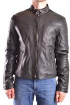Armani Jeans Men's Black Leather Outerwear Jacket.