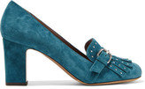 Tabitha Simmons Ethel Embellished Suede Pumps - Teal