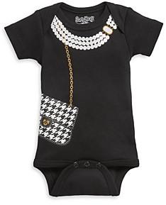 Sara Kety Girls' Houndstooth Bag Cotton Graphic Print Bodysuit - Baby