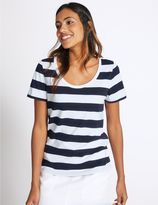 Marks and Spencer Pure Supima Cotton Striped T-Shirt