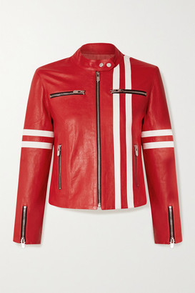 The Mighty Company The Ferrara Striped Leather Biker Jacket - Red