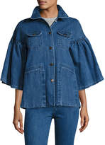 Co Flared-Sleeve Denim Jacket, Indigo
