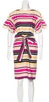 Salvatore Ferragamo Striped Short Sleeve Dress