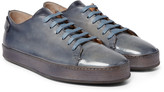 Santoni - Burnished-leather Sneakers