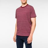 Paul Smith Men's Burgundy And Grey Marl Stripe T-Shirt