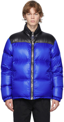 Moschino Blue and Black Down Logo Jacket