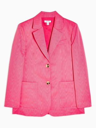 Topshop Moire Oversized Blazer - Pink