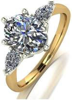 Very MOISSANITE 9CT GOLD 2.5ct Eq total OVAL and PEAR SHAPED TRILOGY RING