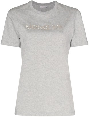 Moncler sequin logo-embroidered T-shirt