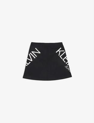 Calvin Klein Jeans Holographic logo-print organic-cotton mini skirt 4-16 years