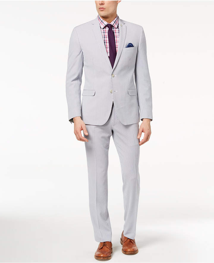Nick Graham Men's Slim-Fit Stretch Blue/White Seersucker Suit
