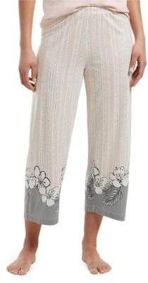 Hue Floral-Border Cotton Blend Capri Pajama Pants
