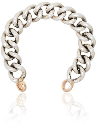Sterling Silver And 14k Gold Chain Link Bracelet