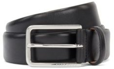 HUGO BOSS Italian Made Belt In Vegetable Tanned Leather - Black
