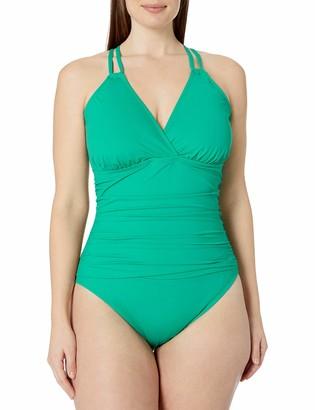 La Blanca Women's Plus Size Island Goddess Underwire Cross Back One Piece Swimsuit