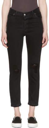 RE/DONE Black High-Rise Ankle Crop Destruction Jeans