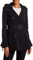 BCBGMAXAZRIA Faux Leather Trim Short Trench Coat