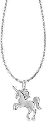 The Love Silver Collection Rhodium Plated Sterling Silver Unicorn Pendant Necklace
