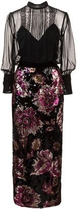 Marchesa Sequin Embellished Dress