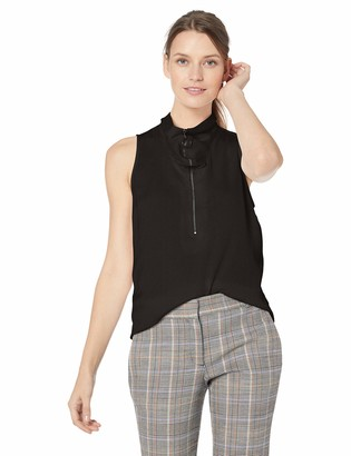 Kenneth Cole Women's Zipped Front Flouncy SLV TOP