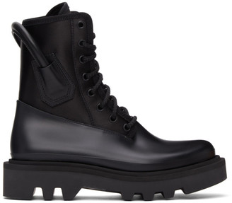 Givenchy Black Satin and Rubber Combat Boots