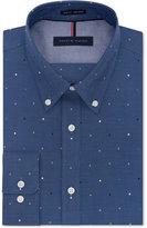 Tommy Hilfiger Men's Slim-Fit Non-Iron Blue Dot-Print Dress Shirt