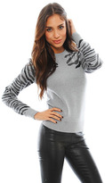 Torn By Ronny Kobo Shauna Zebra Sweater in Grey