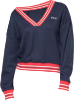 Fila Black Iris Cotton and Polyester Julianne Varsity Crew Sweater - XS - Blue/Red/White