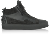 Giuseppe Zanotti Black Suede and Leather Studded Men's Sneakers