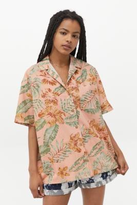 Urban Outfitters Morgan Floral Poplin Shirt - Pink XS at