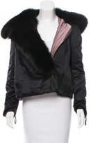 Sonia Rykiel Satin Fur-Trimmed Jacket w/ Tags