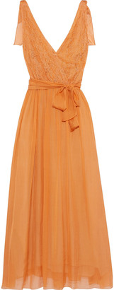Forte Forte Chantilly Lace-paneled Silk-chiffon Midi Wrap Dress