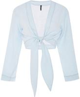 Lisa Marie Fernandez Linen Tie Cropped Blouse