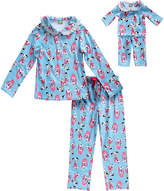 Dollie & Me Blue & Pink Dalmatian Pajama Set & Doll Outfit - Girls