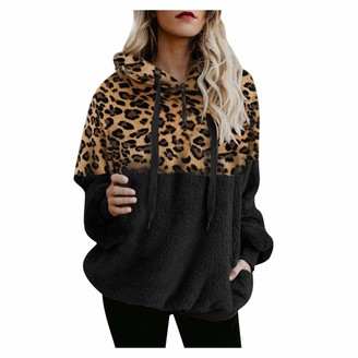 LOPILY Women's Leopard Patchwork Teddy Bear Hoodie Furry Baggy Blanket Hoodie Fleece Hooded Top Drawstring Soft Hoodie Ladies(Black M)