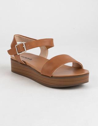 Soda Sunglasses Nebula Platform Tan Womens Flatform Sandals