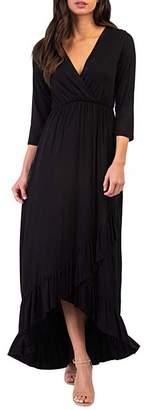California Trading Group Women's Maxi Dresses Black - Black Surplice Ruffle Hi-Low Dress - Women