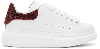 Alexander McQueen SSENSE Exclusive White and Red Glitter Oversized Sneakers
