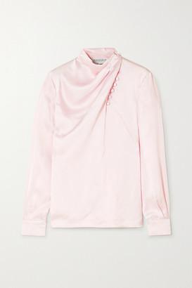 Gabriela Hearst Marcelina Draped Hammered-silk Blouse - Pastel pink