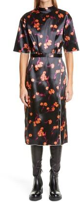 Meryll Rogge Daisy Bonded Satin Midi Dress
