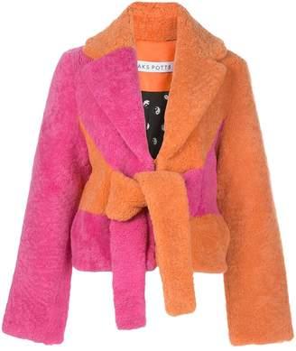 Saks Potts colour-block shearling coat