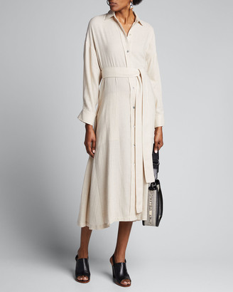 Vince Long-Sleeve Belted Shirtdress