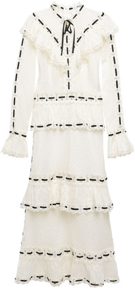 Zimmermann Honour Tiered Guipure Lace-trimmed Pintucked Cotton Midi Dress